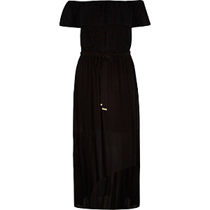 RI Plus black bardot maxi dress