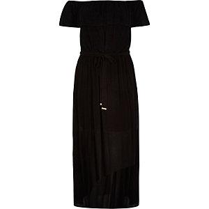 RI Plus black bardot maxi dress