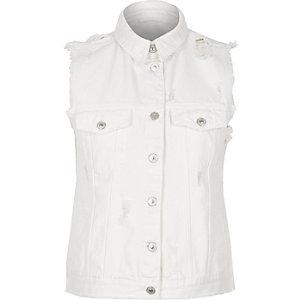 White sleeveless denim jacket