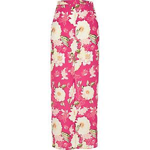 Pink floral print maxi skirt