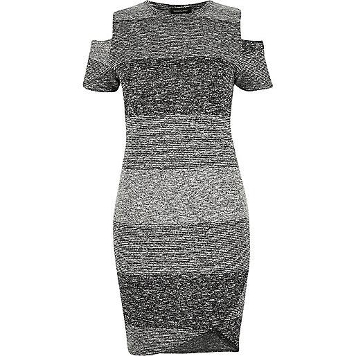 RI Plus grey stripe cold shoulder dress