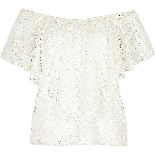 RI Plus white frill bardot top
