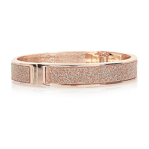 Bracelet façon or rose à paillettes