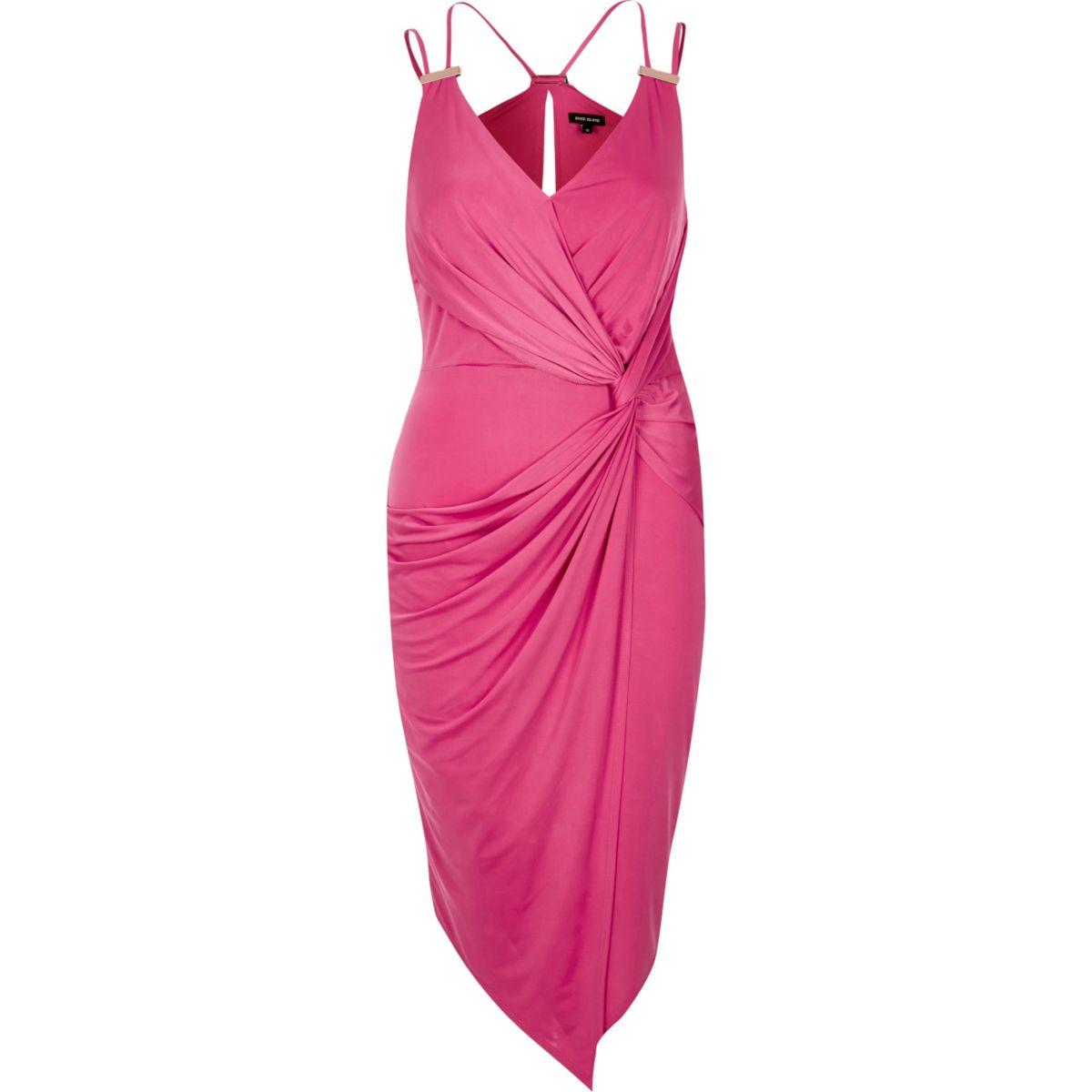 Pink draped dress