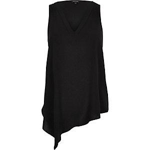 Black V-neck asymmetric vest