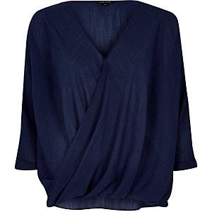 Navy wrap blouse