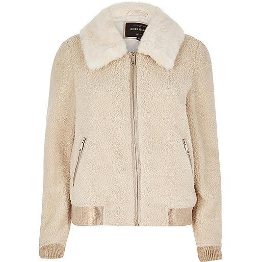 Cream fleece bomber jacket