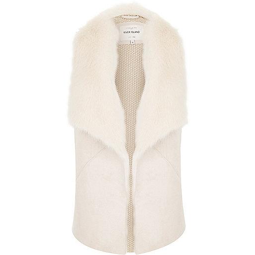 Cream faux fur collar vest