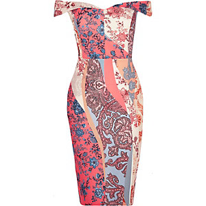 RI Plus pink floral print bardot dress