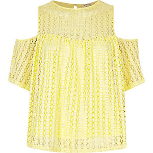 Yellow cold shoulder lace top