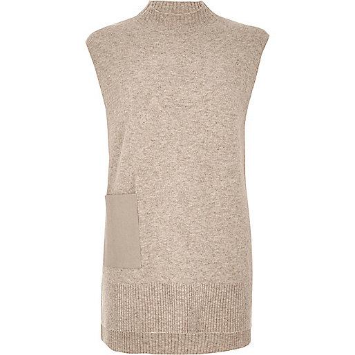 Oatmeal sleeveless tabbard top