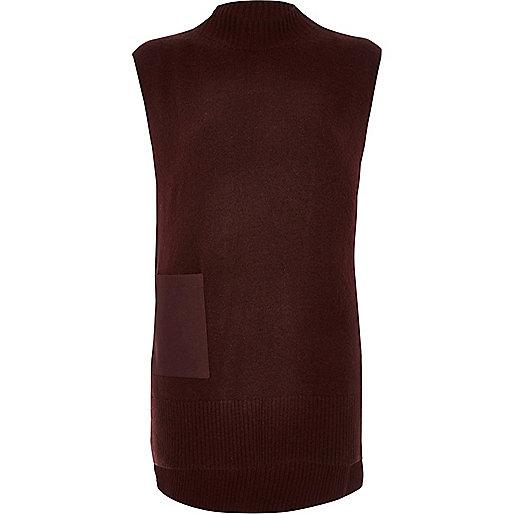Burgundy sleeveless tabbard top