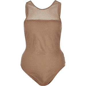 Light brown mesh bodysuit