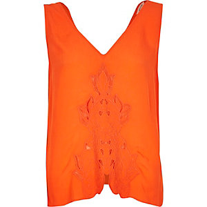 Orange cutwork tank top