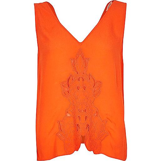 Orange cutwork tank top