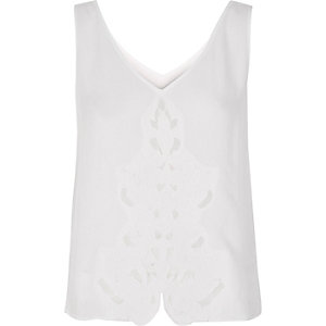 White embroidered panel tank top