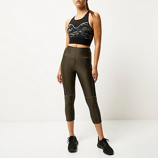 RI Active khaki capri sports leggings