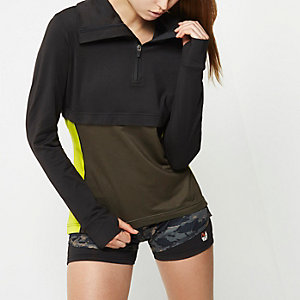 RI Active black layered block gym top