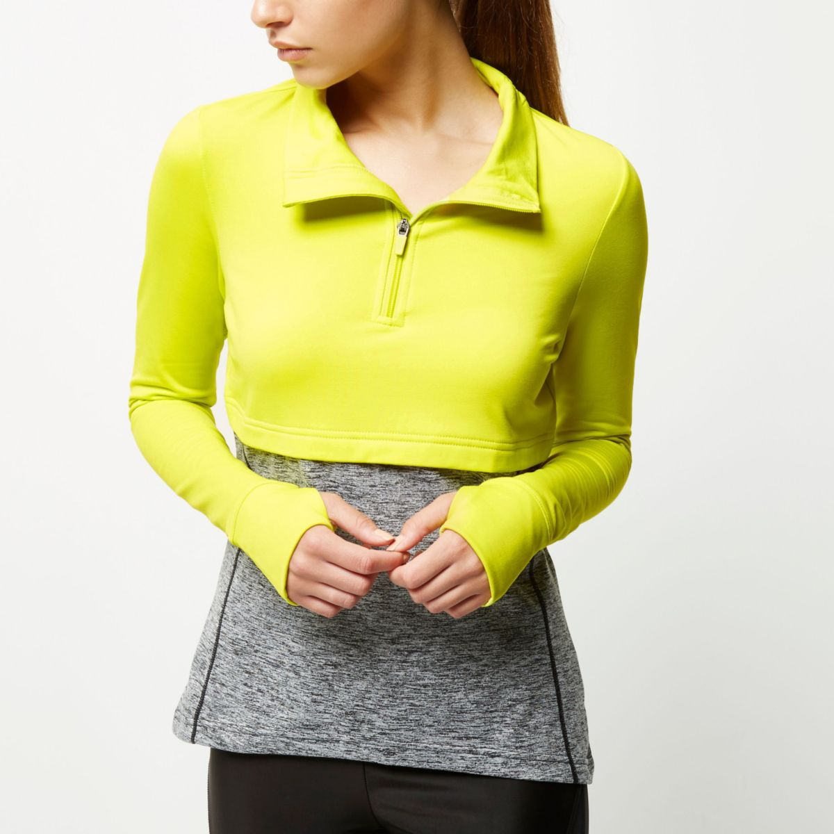 RI Active yellow layered block gym top