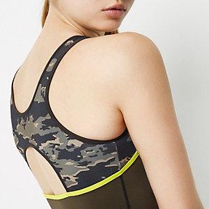 RI Active sporthemdje met camouflageprint en kleurvlakken