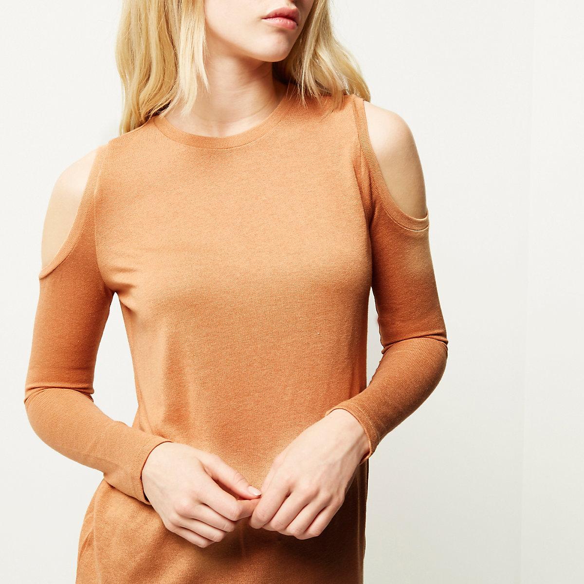 Orange long sleeve cold shoulder top