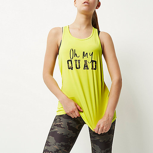 RI Active yellow slogan print gym tank