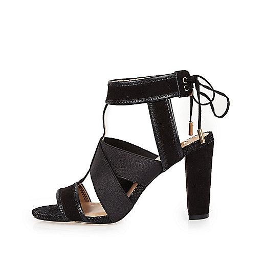 Black cross over heel sandals
