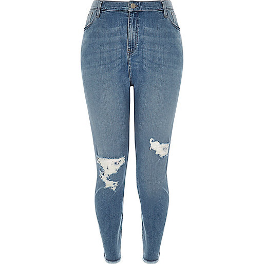 Jean skinny Lori Plus délavage bleu taille haute