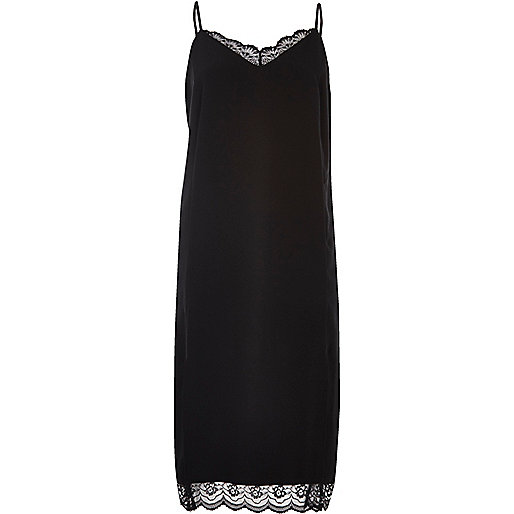Black lace midi slip dress