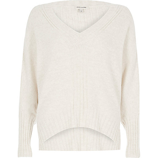 Oatmeal ribbed panel batwing sweater