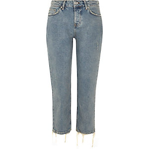 Mid blue wash cropped slim fit jeans
