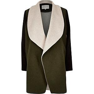 Khaki block wool blend fallaway coat