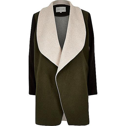 Manteau en laine mélangée kaki colour block à pans
