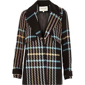 Multicoloured checked pea coat