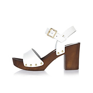 White leather strappy clogs