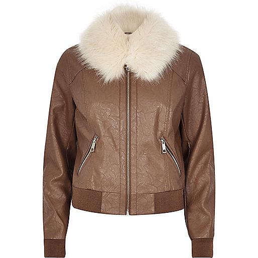 Brown faux fur collar jacket