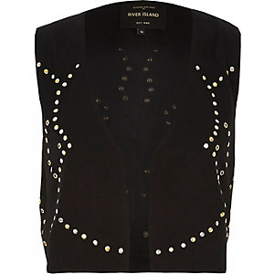 Black embellished cropped vest