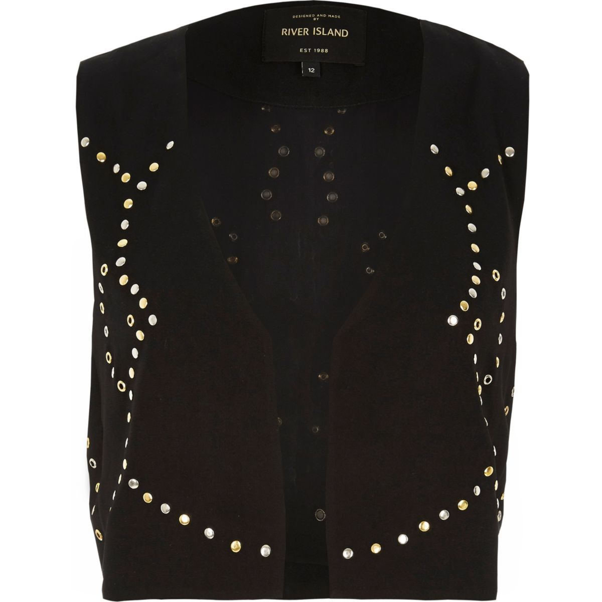 Black embellished cropped waistcoat
