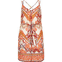 Orange print strappy cami tunic