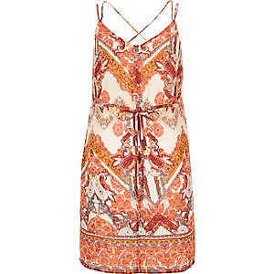 Orange print strappy cami tunic