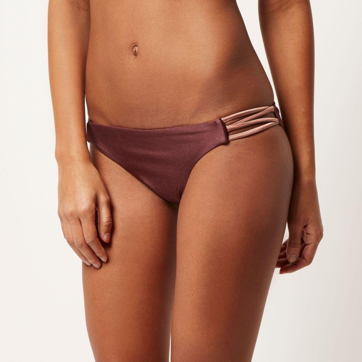 Bas de bikini taille basse marron