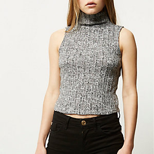 Grey roll neck sleeveless vest