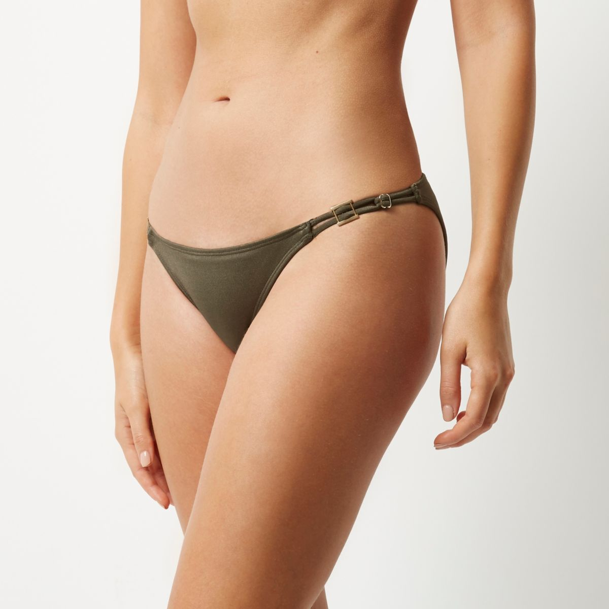 Bas de bikini kaki taille basse