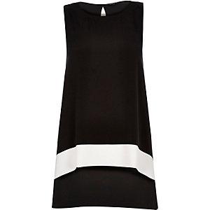 Black colour block longline top