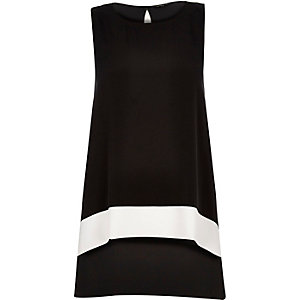 Black color block longline top