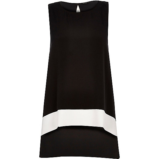 Black colour block longline top