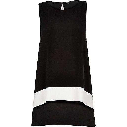 Black color block longline top