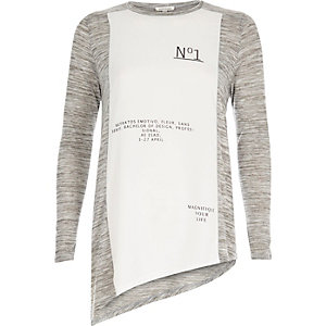 Grey panel print asymmetric top