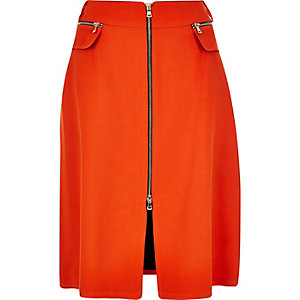 Red zip front midi skirt