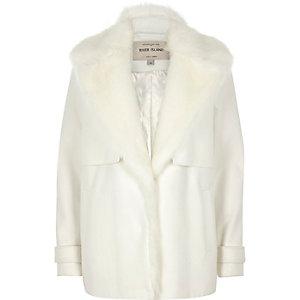 Cream faux fur collar pea coat